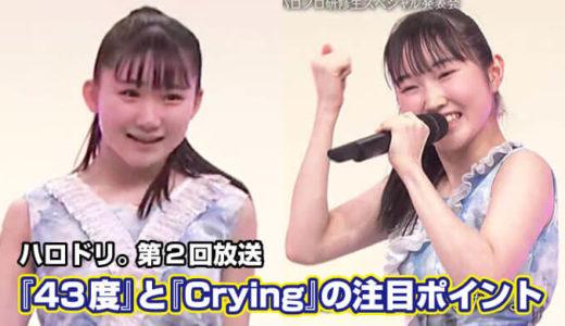 『43度』と『Crying』の注目ポイント【ハロドリ。第2回放送】
